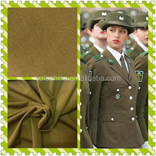 "Military Ceremonial Uniform Fabric - T/R 65/35 20*20 108*54 57/58"" 2/1 Twill- Polyester Rayon Fabric"