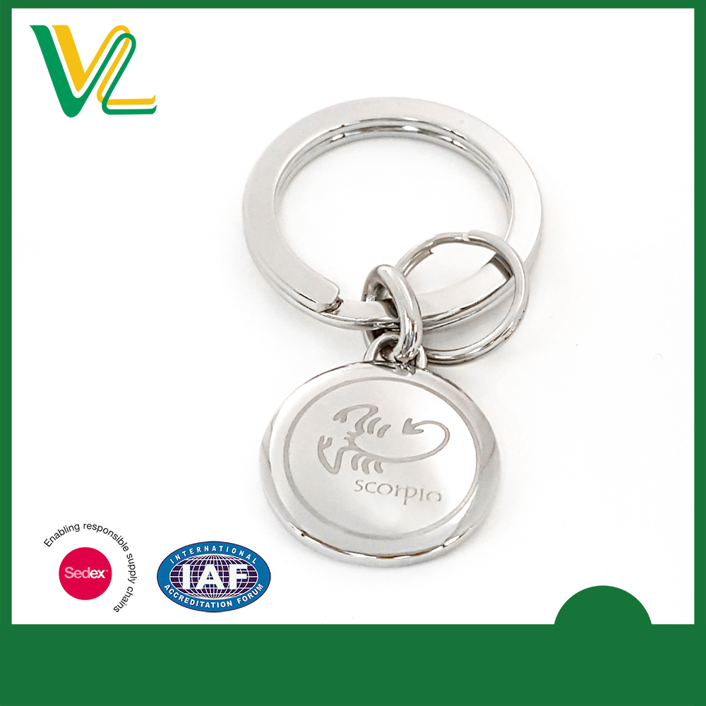 High Quality Laser Engraved Round Custom Key Chain
