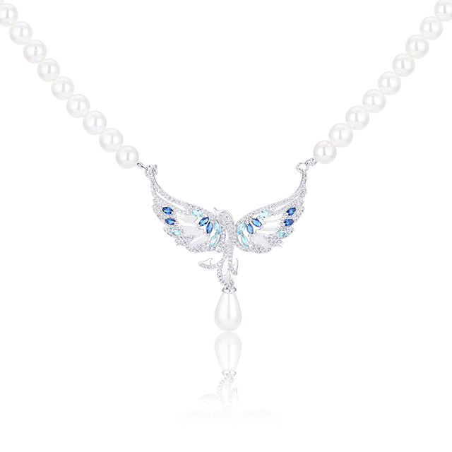 Fashion Classic Style Pearls Crystal Bird Bead Chains Necklace