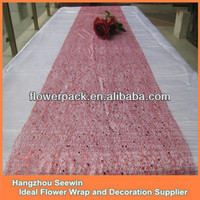 Red Silk Mesh Sequin Tablecloths