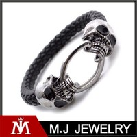 High Quality Antique Mens Skull Jewelry 316l Stainless Steel Leather Slaps Bracelet Bangle