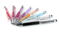 new 2in1 Crystal Diamond Stylus Pen+Ball Point Pen Function For iPhone 3/4/5GS iPad samsung etc smart phone