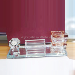 Square Shape Crystal Pen Holder With Name Card Holder And Crystal Diamond Clock For Office Set