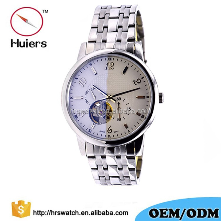 OEM luxury silver band japan movt Stainless Steel automatic waterproof 5ATM Wristwatch Chronograph watch for Men