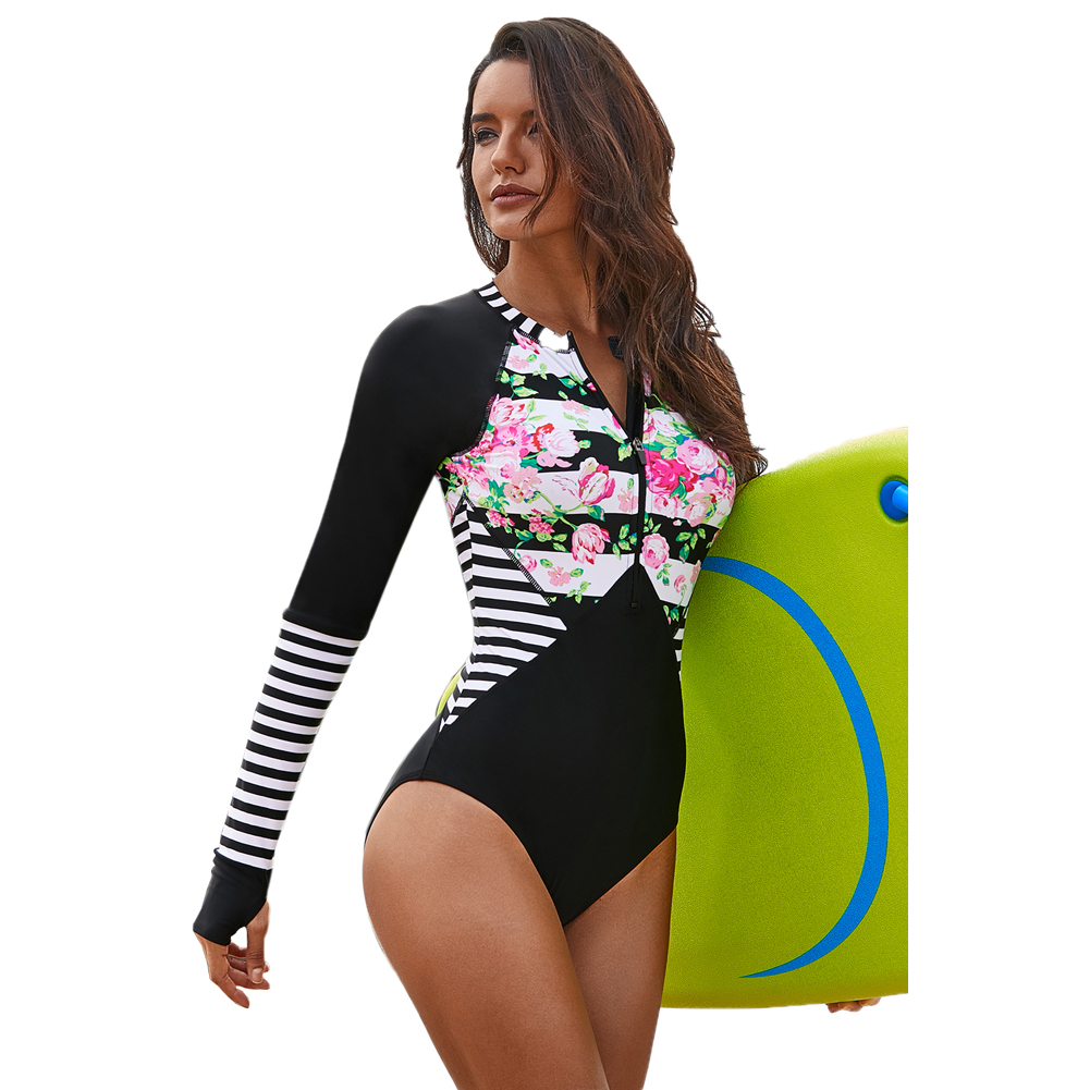 Floral Striped Patchwork Rashguard Long Sleeve Swimwear One-piece Swimsuit Women Bikini