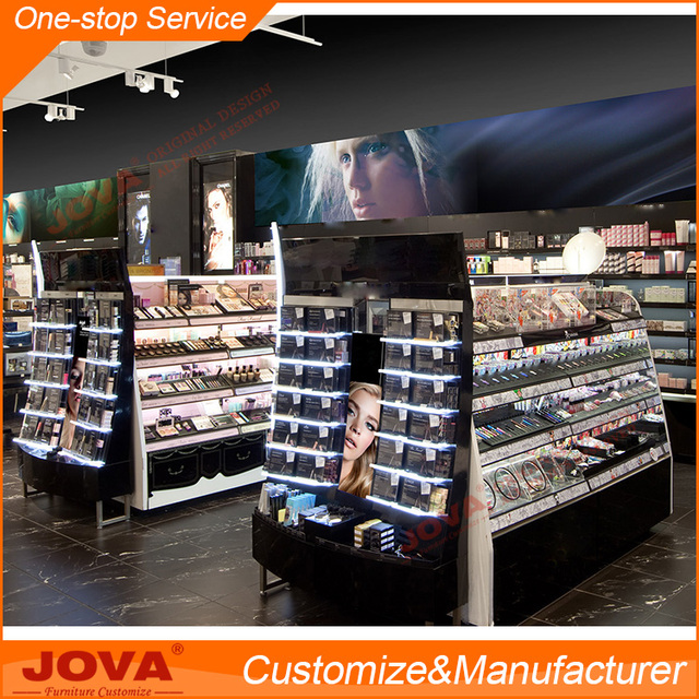Customize wooden acrylic cosmetic makeup display floor stand