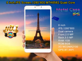 Quad core tablet pc/MTK6582 8inch 1280X800 IPS screen tablet pc/cheap china android tablet