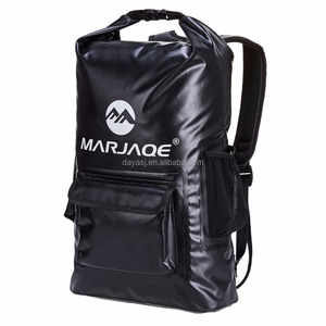 OEM Padded Shoulder Straps Black Custom Logo 100% Waterproof Tarpaulin Dry Backpack Bag