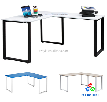 Home wood L-shaped office workstation computer laptop desks corner study tables wholesale