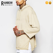 Wholesale Plain Oversized Pullover Longline Hoodie For Mens With Split Side