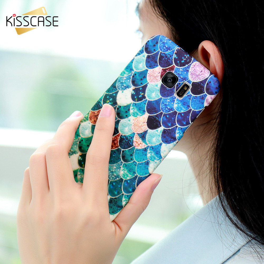 KISSCASE For Samsung S7/S6 egde Phone Case 3D Cute Mermaid Scales Hard Cases For iPhone 7 6 6S Plus 5 5S SE Cover Fundas Korean