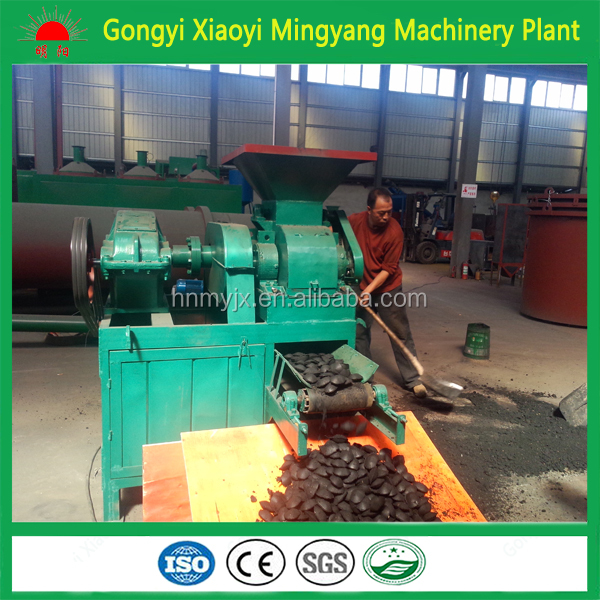 Hot in BBQ boiler market cow dung briquettes making machine/pillow shape coal powder ball pressed plant machinery+8613838391770