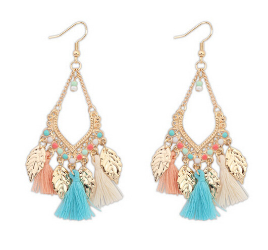 Lleaf ladies earrings wholesale jewelry tassel earrings