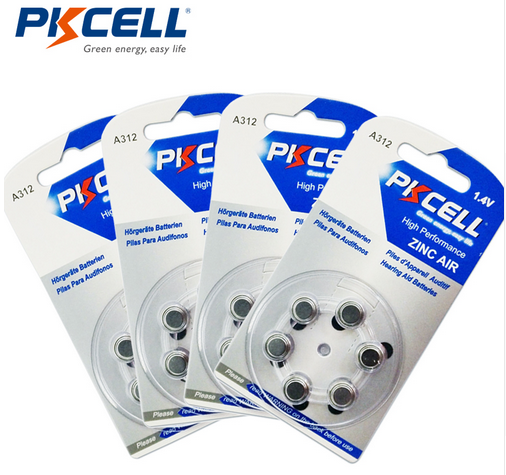 pkcell non-rechargeable button cell 1.4v 180mah 312A ZA312 312 PR41 A312 Zinc air battery hearing aid battery