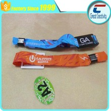 350*15mm custom rfid woven wristband/professional festival fabric rfid bracelet ntag216 chip/fabric rfid wristband for event