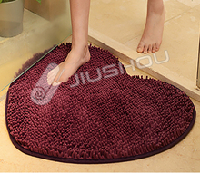 Chenille material color changing curved anti slip shower bath mat