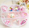 Children's jewelry set pink line KT cat hair cord hairpin combination baby necklace hair gift box