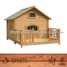 Easy Assembly Wooden Dog House With Veranda DFD004
