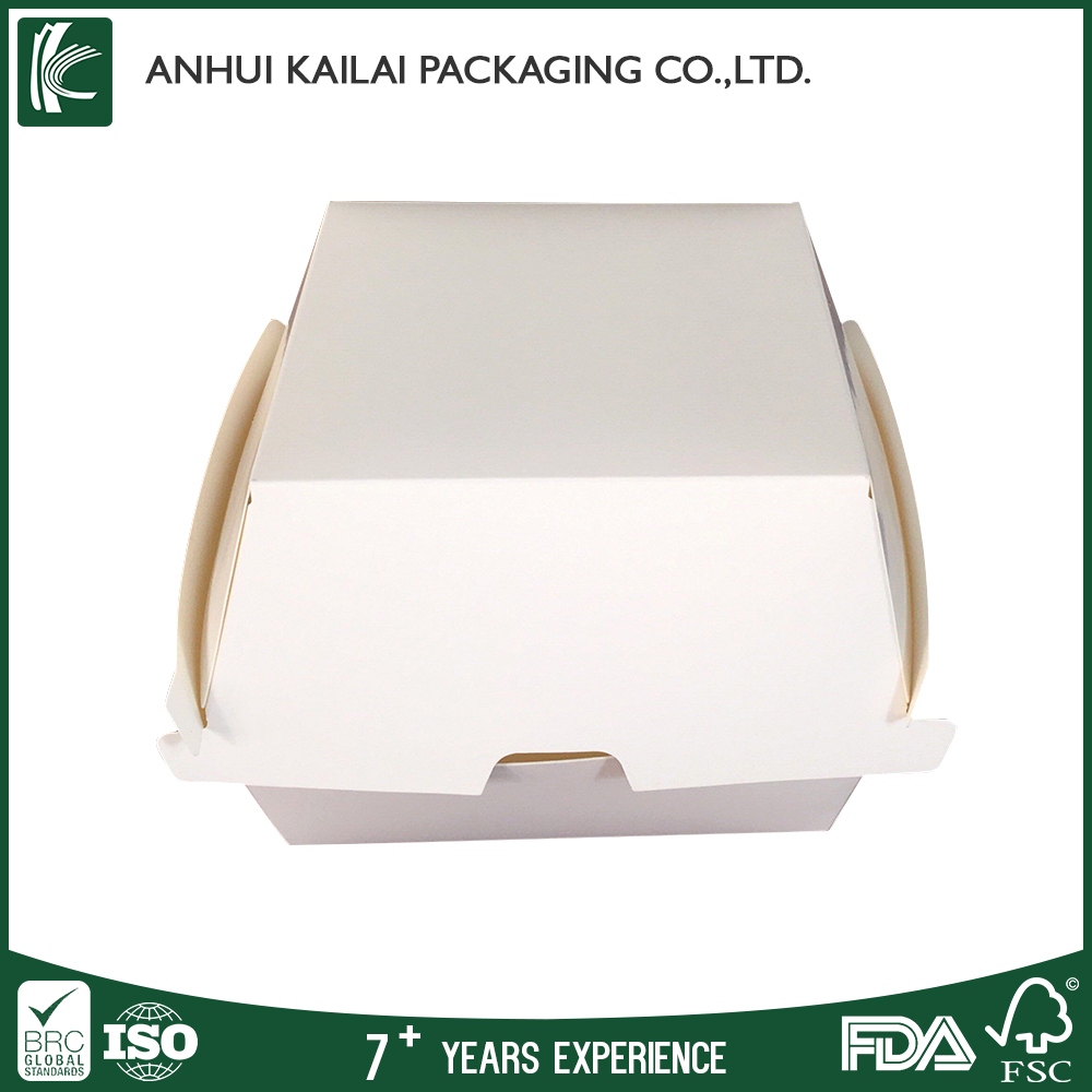 Custom printed wholesale burger box paper white