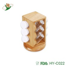 Unique bamboo sliding spice rack