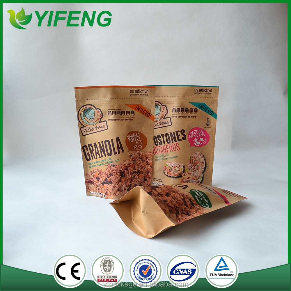 Customized Recycled Stand up Paper Pouch For Foods