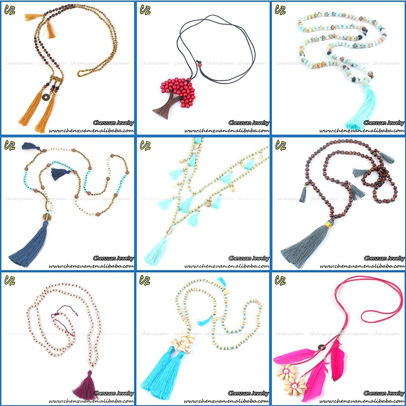 Online shop hot sale tassel beaded necklace jewelry glass seed beads necklace