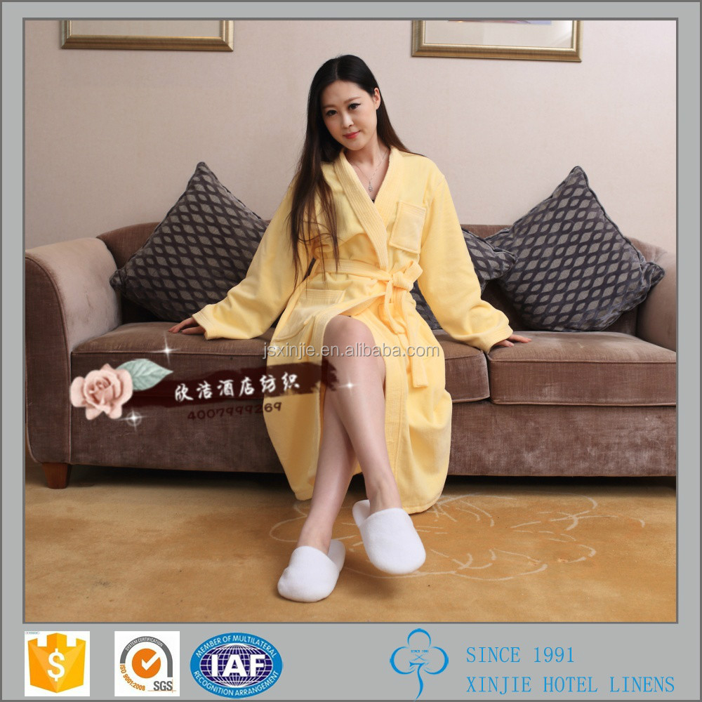 Five star hotel solid color Kimono collar velour bathrobe