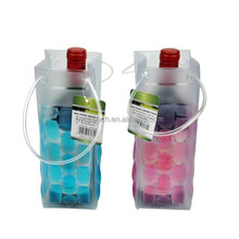 Reusable wholesale gift clear PVC cooler wine plastic handle bag with square buttom