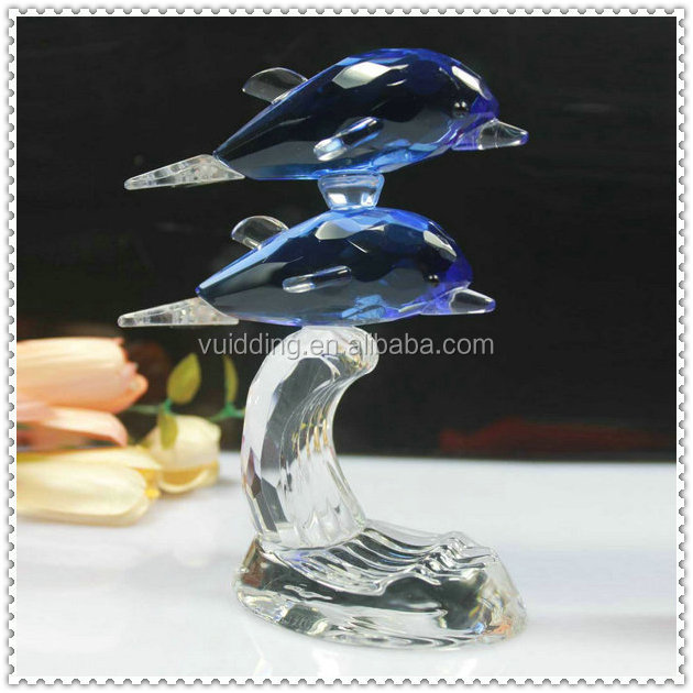 Blue Color Crystal Dolphin Figurine For Wedding VIP Gifts