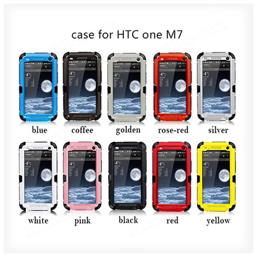 Tempered Glass Metal Case For HTC One M7 Shoocproof Case,For HTC One M7 Dirt Proof Case