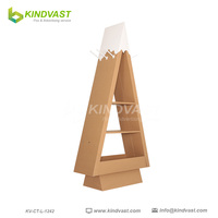 Christmas tree shape cardboard display stand wiht hook for gift