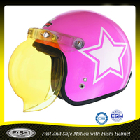 Light pink kids plastic scooter motorcycle helmet with sun visor