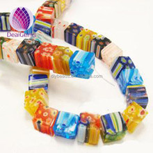 Bead millefiori glass 10x10mm cube