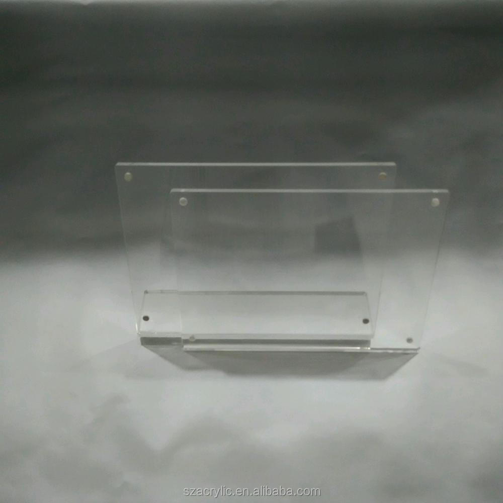 Clear acrylic picture frames L shape photo display frame