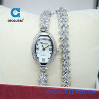 Erinena brand design women crystal dial bracelet silver watch