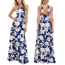 Women Halter Neck Design Fashion Sleeveless Printing Backless Bodycon Long Maxi Sexy Mature New Ladies Dress