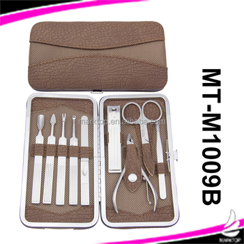 9PCS Brown stainless steel Square Shape Pedicure set