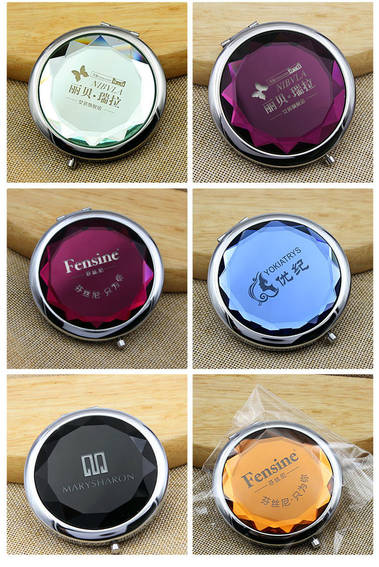 Wholesale Custom Laser Logo 70mm Mini Compact Cosmetic Bling Crystal Metal Pocket Mirror