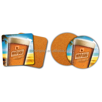 custom make logo picture printing beach themed cork coasters