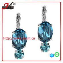 ER4641 New design fashion wholesale big blue crystal silver bo dormeuse earring
