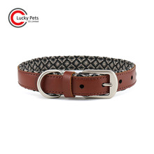High end quality ensured soft padding cow leather pet dog collar