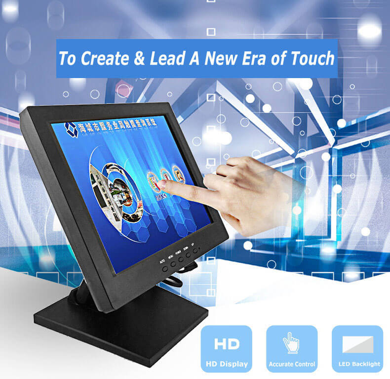 Fast delivery 10.4 inch 4-wire resistive touch screen monitor for POS system USB, VGA