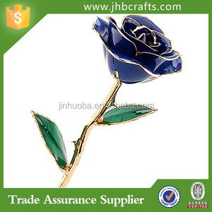 Handmade Metal Blue Rose Gift Indoor Home Decoration