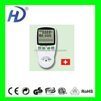 SWITZLAND PLUG DIGITAL THREE PHASE ELECTRICA MINI ENERGY METER THREE PHASE POWER METER WITH CHART WITH CE GS ITEM PM001-CS