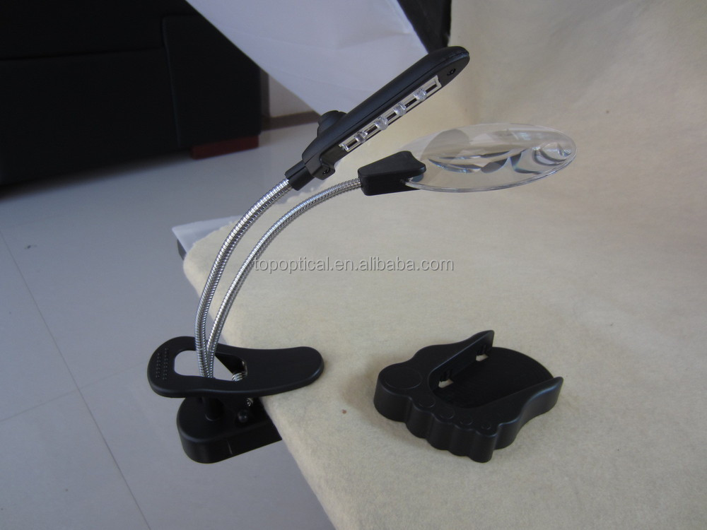 Helping hand table top LED magnifier and Kit foot shape Plastic clip Stand Magnifying glass with 4led lights
