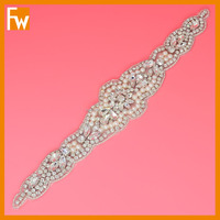 wholesale rhinestone silver pearl beaded craft appliques patch for wedding dress