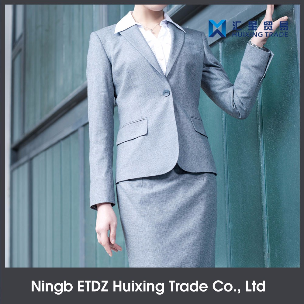 Fashion Design Polyester Winter White Dress Suit Ladies Formal Wear Uniform Design For Office Staff