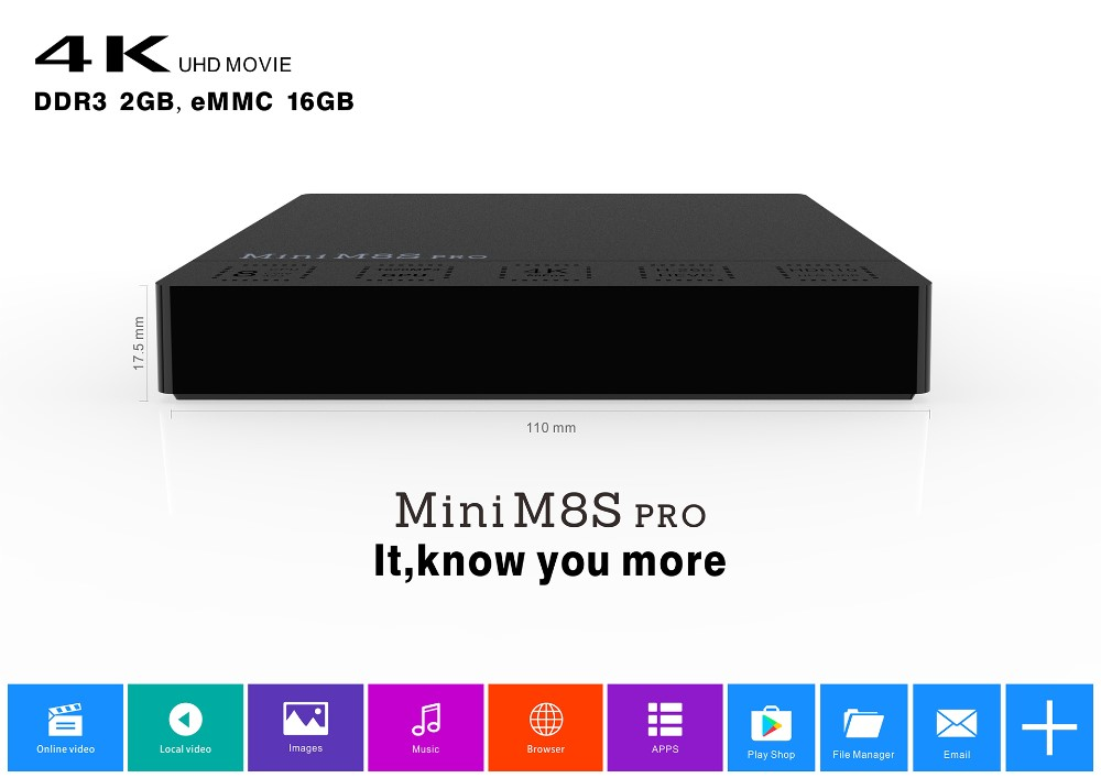cheapest android tv box s912 Mini M8S pro Android 6.0 Amlogic S912