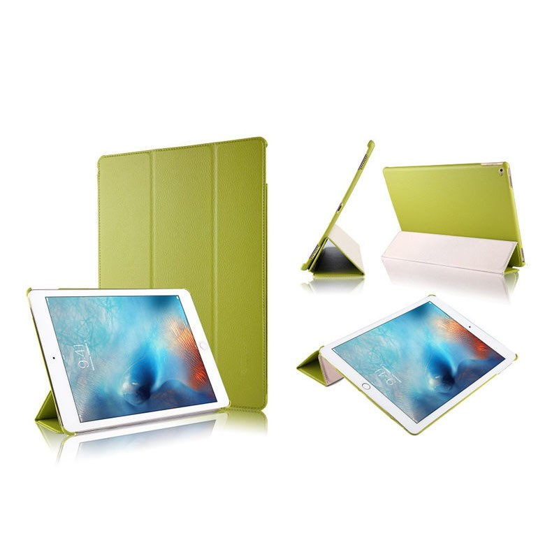 Hot Selling Litchi Pattern Three Folding tablet carry Leather Case for iPad Pro 12.9 with wake up/sleeping function