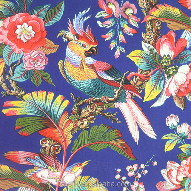 Digital printed stretch silk satin with colorful plants and parrots